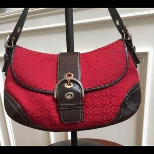 Coach red and brown Soho Hobo bag